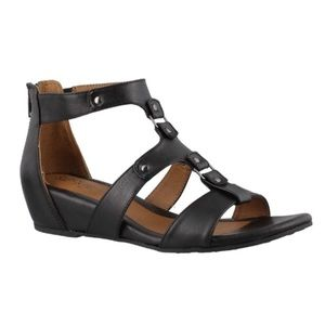 Euro Sofft gladiator style back zip wedge sandals